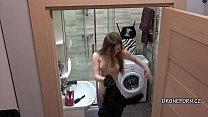 Petty teen girl Santa Sky in the bathroom - Hidden cam