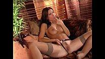 Brunette in sheer lingerie teases and masturbates thumbnail