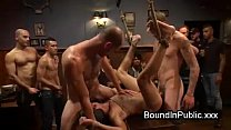 Bound gay groped and gangbang fucked in crowded... />