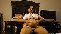 Desi Rose oils up her fat belly