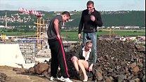 Cute little blonde girl public construction site public sex threesome gang bang