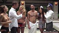 Four Busty Sluts Enjoy The Orgy Sex