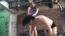 Japanese Femdom Risa whipping three slaves