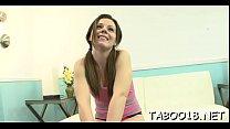 Lip smacking teen enjoys sucking her studs huge dong