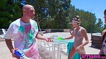 Outdoor fun with bisex teen besties who love big guns