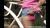 Innocent teen Kitty flashing her pink panties Vorschaubild