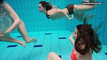 3 nude girls have fun in the water thumb