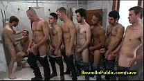 Bound gay face cummed in public restroom pornhub video