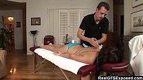 RealGfs – Hot brunette gets wet from oil massage