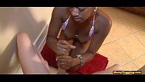 Tugging ebony teases massive dick in pov