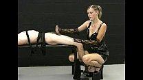 Blonde mistress jerks off her tied up slave and demands for more cum