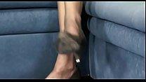 Hot lesbian hottie moans hard with big vibrator on her slit
