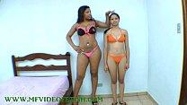 Big Brunette Girl Destroying 2 Girls Between her Legs
