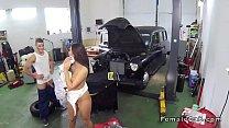 Angry female cab driver bangs repairman