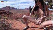 Eroberlin Zoe Rush skinny teen outdoor pissing Monument Valley long hair cutie thumbnail