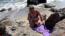 Voluptuous blonde sunbathing nude on the beach fucks passer-by - Erin Electra's Thumb