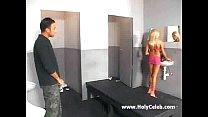 Nasty bimbo bitch gets assfucked on toilet