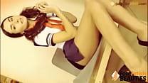 Barefoot Schoolgirl shows off her pretty feet