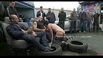 Gay sex slave in rough fetish gang bang