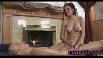 Sweet busty masseuse gives soapy massage Thumbnail