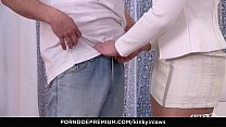 KINKY INLAWS - Hot Czech stepdaughter Alex Ginger and stepmom Alex Black share guy's cock thumbnail