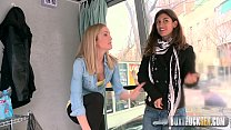 Hot Julia Roco and Sicilia Play with a Realistic Dildo in Public preview image
