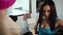Gabi Paltrova and her real life sexdoll Jenna Sativa - Girlsway thumbnail