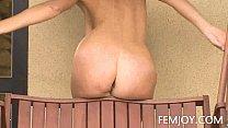 Natural Busty Katalin Nude In The Backyard