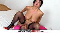 Big natural breasts madam Greta facesitting and...