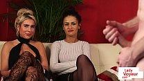 Stunning UK babes instructing submissive