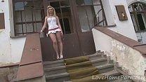 Desirable blonde loves her new white dress Thumbnail