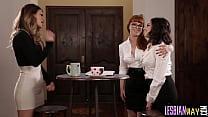 Brunette lesbian couple have oral threeway