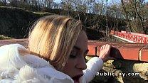 Blonde fucks for Czech crowns in public