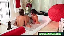 Slippery brunette takes cum and gives nuru massage 19