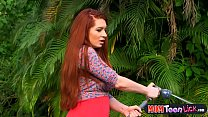 Bossy redhead MILF licks a petite teen pussy ou...