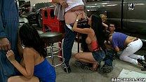 Rachel Starr and Pornstars take over Mechanics Thumbnail