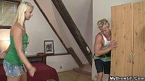 Sweet blonde bros gf spreads legs for him