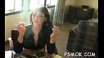Appealing honey smoking pornhub video