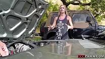 Blonde bimbo tries to sell car, sells herself Thumbnail