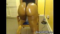 Sexy ebony with big oiled booty teasing so nice