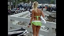 Sexy green mini shorts girl in public