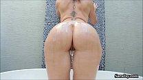 sissy anal - busty pornstar sara jay fucks big black dildo! thumbnail