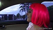 Costumed teen fucking in the car in public