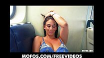 Beautiful Bella masturbates with her vibrator on the train