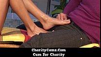 Charity Cams Hot Blonde Gives Foot Job
