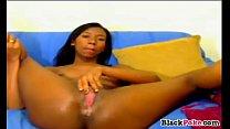 Hot ebony babe masturbating and toying pussy preview image