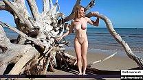 Beautifull girl nude photoshoot at beach thumb