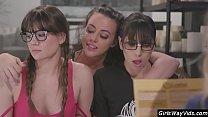 Sexy nerdy girls lesbian orgy thumbnail