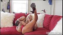 Horny Tara red masturbating on couch