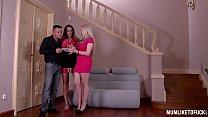 Busty Milfs Laura Orsolya & Angel Wicky in Wild Anal Threesome thumbnail